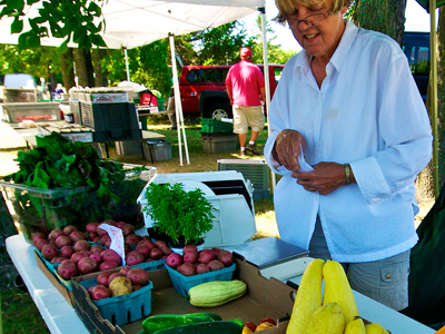 Mary Dannhausen of Egg Harbor Natural Gardens with her produce at the Jacksonport farmers market at Lakeside Park. Photo by Len Villano.